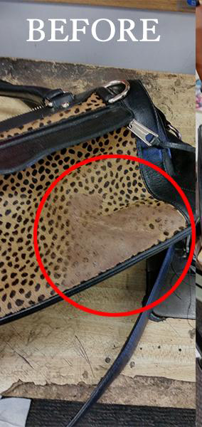 Animal Print Purse Before Repair